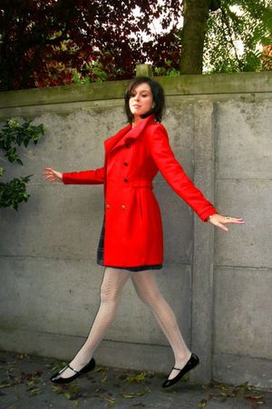 red coat - blue dress - white tights - black shoes