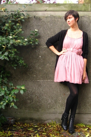 H&M dress - Zara sweater - Pimkie tights - Pimkie boots - various accessories