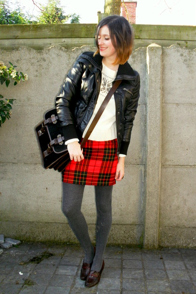 black jacket - ivory sweater - dark gray tights - black bag - red skirt