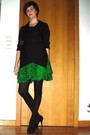 Green-dress-black-sweater-black-tights-black-shoes-gold-necklace