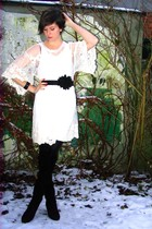 white dress - black belt - black accessories - black boots - black cardigan