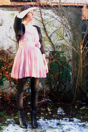 pink dress - black cardigan - black tights - black boots