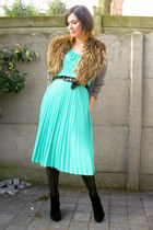 black boots - aquamarine dress - black tights - bronze scarf - tan cardigan - si