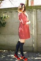 brick red dress - navy socks - red clogs - magenta flower wreath accessories