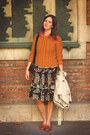 Burnt-orange-jumper-carrot-orange-dress-black-bag-tawny-flats