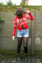 dark gray boots - sky blue shorts - black socks - red cardigan - black blouse -