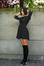 Black-dress-black-socks-black-shoes-white-accessories