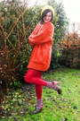 Burnt-orange-cardigan-black-dress-ruby-red-tights-red-socks-dark-brown-c