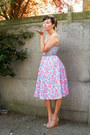 Bubble-gum-skirt-light-blue-bra-light-pink-wedges