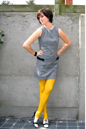 gray dress - yellow tights - white shoes - black bracelet