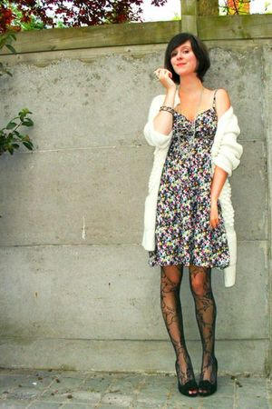 black dress - white cardigan - black tights - black shoes - silver accessories