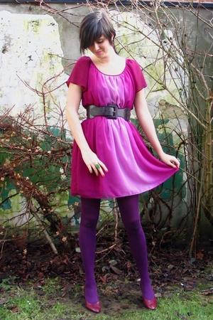 pink dress - purple tights - purple belt - purple shoes - green accessories