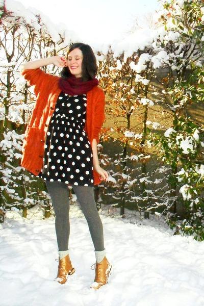 tawny cardigan - maroon scarf - bronze boots - black dress - gray tights - off w