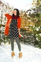 tawny cardigan - maroon scarf - bronze boots - black dress - gray tights - off w