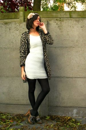 brown coat - white dress - black tights - brown