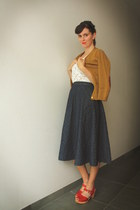 navy skirt - red clogs - mustard cardigan - ivory top