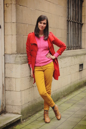 red coat - bronze boots - bubble gum sweater - gold pants