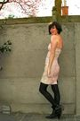 Pink-dress-black-boots-gray-cardigan-black-tights