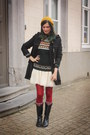 Ruby-red-tights-black-boots-cream-dress-gold-hat-forest-green-sweater