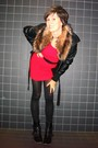 Red-dress-black-boots-black-jacket-black-sweater