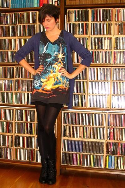 black H&M dress - black Pimkie boots - blue Pimkie sweater - black tights