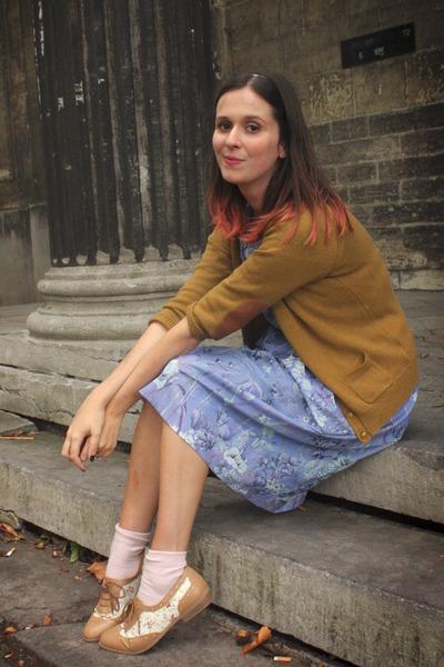 camel shoes - violet dress - neutral socks - mustard cardigan