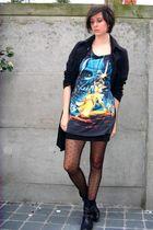 black dress - black coat - black boots - black tights - black skirt - silver nec