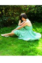 green dress - white shoes