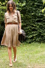 Ivory-shoes-tan-dress-black-bag-dark-brown-belt