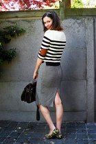 dark brown bag - tan flats - white skirt - black top