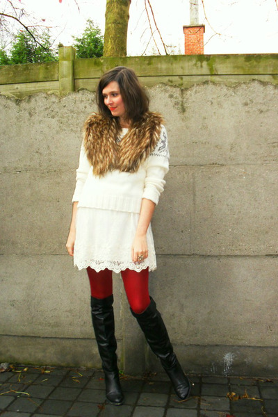 Red Sweater Dress With Black Boots Red Tights Black Boots