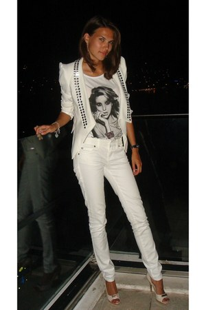 Gucci jacket - Armani Jeans jeans - Present t-shirt - Grey Mer heels
