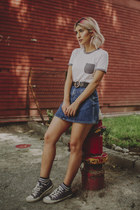 blue denim skirt pull&bear skirt - white ringer tee Wet Seal t-shirt