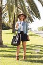 Blue-thrifted-gap-jacket-white-shirt-black-neoprene-pull-bear-skirt