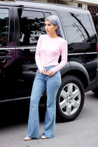 sky blue flare jeans jeans - bubble gum top - light pink pumps