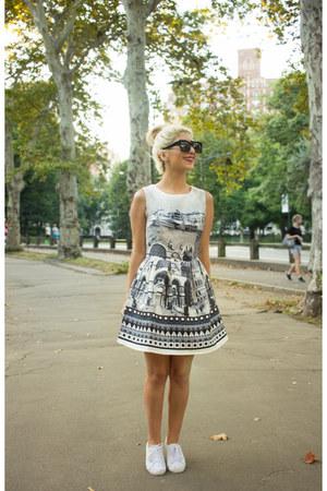 white dress - black sunglasses - white sneakers