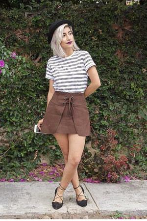 black bowler hat H&M hat - brown lace up skirt pull&bear skirt