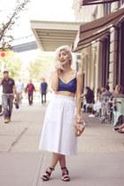 white Zara skirt - blue no brand top - black Forever 21 sandals