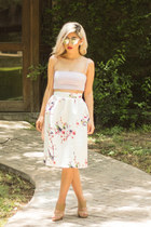 periwinkle tube top Zara top - silver mirrored sunglasses - ivory midi skirt