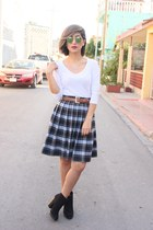 navy plaid mid skirt vintage skirt - black Zara boots