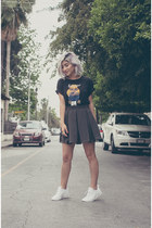 black Zara t-shirt - olive green Monckibird skirt - white nike sneakers