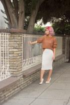 bronze pull&bear sweater - ivory Forever 21 skirt - white Charlotte Russe heels