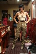 floral Zara pants - boots - vintage top - vintage belt - chain necklace