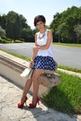 Ruby-red-shoes-navy-polka-dot-skirt-white-shasa-top