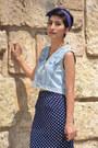Denim-vintage-vest-vintage-skirt-spike-charlotte-russe-pumps