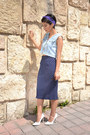 Denim-vintage-vest-vintage-skirt-spike-charlotte-russe-pumps