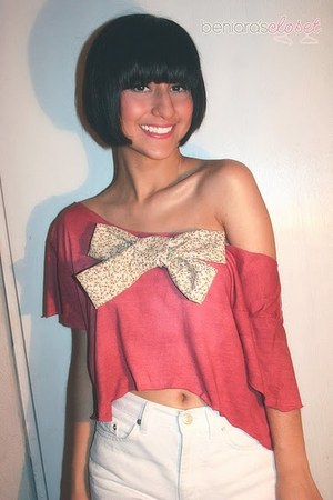 vintage shorts shorts - crop top-bow top