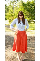 red midi Forever21 skirt - sky blue TJ Maxx shirt - beige Anne Michelle pumps
