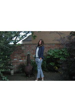 Zara pants - Topshop blazer - whistles top - next necklace - Zara heels