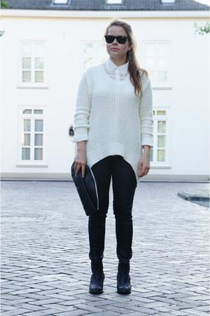 black Topshop boots - black H&M bag - black Ray Ban sunglasses